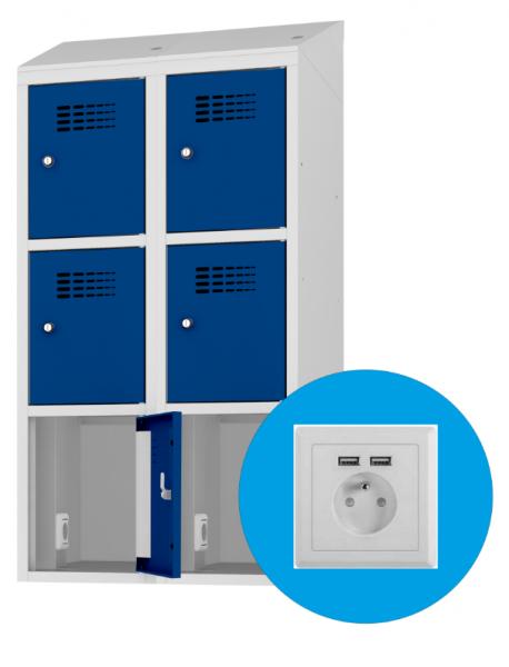 Schließfachschrank - 2 Abteile - 6 Fächer - mit Steckdose/USB - 1800x800x500 mm (HxBxT)