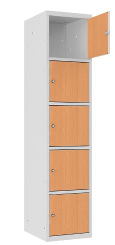 Schließfachschrank - 1 Abteil - 5 Fächer - MDF Tür - 1800x400x500 mm (HxBxT)