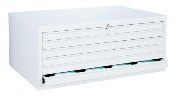 Flachablageschrank, Zeichnungsschrank - 6 Schubladen - DIN A0 - 605x1405x955 mm (HxBxT)-
