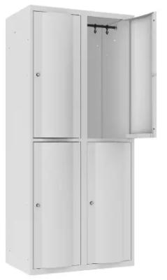 Garderobenschrank - 2 Abteile - 4 Fächer - mit abgerundeter Tür - 1800x800x500 mm (HxBxT)