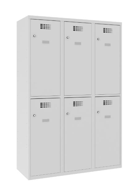 Garderobenschrank - 3 Abteile - 6 Fächer - 1800x1200x500 mm (HxBxT)