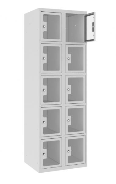 Schließfachschrank - 2 Abteile - 10 Fächer - Plexiglas Tür - 1800x600x500 mm (HxBxT)