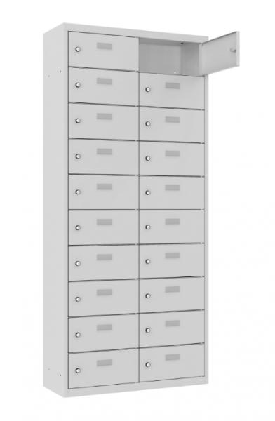 Schließfach/Kantinenschrank - 2 Abteile - 20 Fächer - stehend - 1800x800x500 mm (HxBxT)