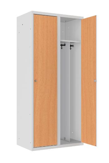 Spind - 2 Abteile - mit Trennwand - MDF Tür - 1800x800x500 mm (HxBxT)