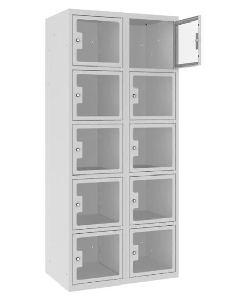 Schließfachschrank - 2 Abteile - 10 Fächer - Plexiglas Tür - 1800x800x500 mm (HxBxT)