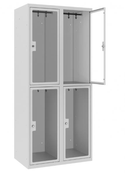 Garderobenschrank - 2 Abteile - 4 Fächer - Plexiglas Tür - 1800x800x500 mm (HxBxT)