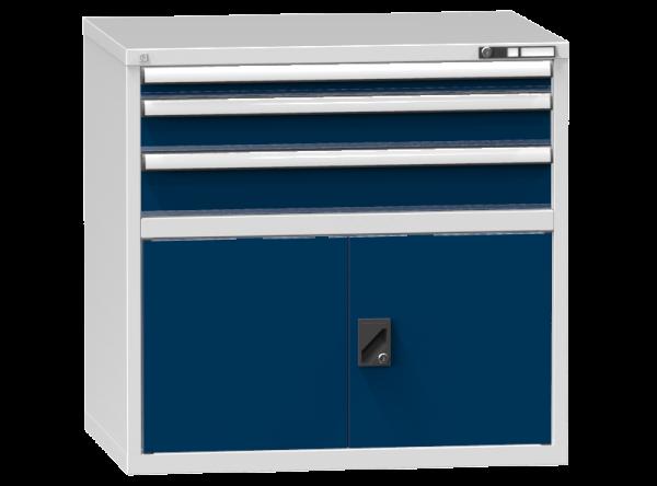 Schubladenschrank - Standcontainer - 1+1+1 Schublade, 1x Tür 550 mm - 990x1037x753 mm (HxBxT)