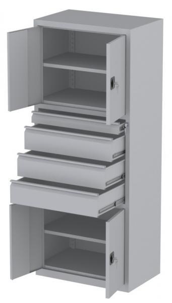 Werkstattschrank - 4 Fächer und 3 + 1 Schubladen - 1950x1000x500 mm (HxBxT)