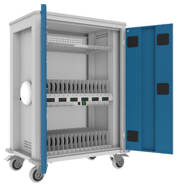 WNT-Wagen für 32 Tablets / 1 Laptop - Desinfektion mit UV-C - 1050x730x440 mm (HxBxT)