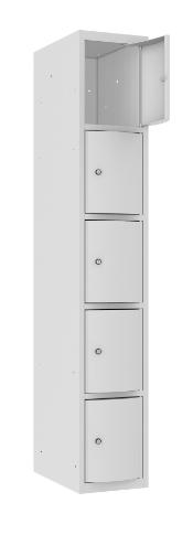 Schließfachschrank - 1 Abteil - 5 Fächer - mit abgerundeter Tür - 1800x300x500 mm (HxBxT)