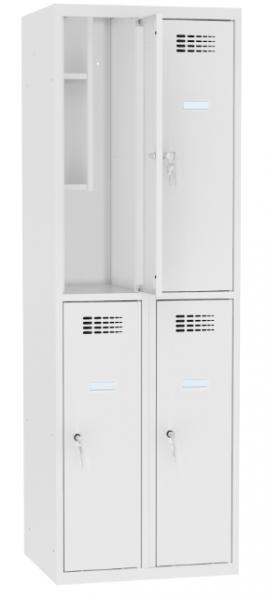 Schließfachschrank - 2 Abteile - 4 Fächer - mit Bücherregal - 1800x800x500 mm (HxBxT)