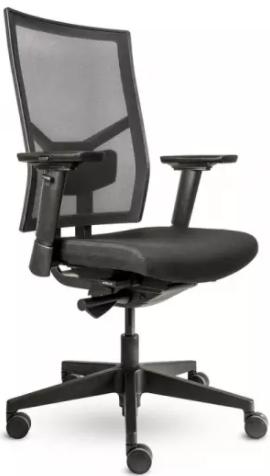 Bürodrehstuhl mit 3D Armlehnen - Netzrücken - Kunststofffußkreuz