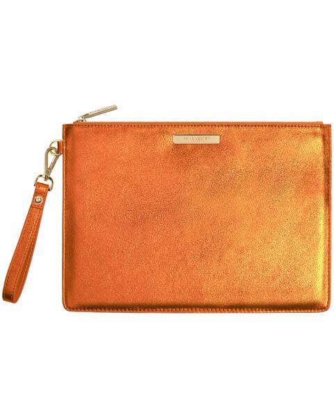 Kleine Taschen Luxe Clutch Metallic Orange