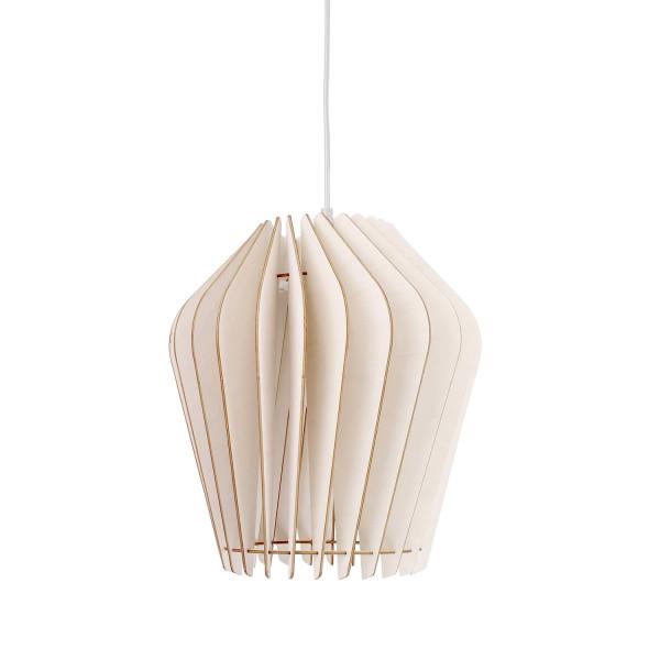 Holzlampe Solis weiß wodewa weißes Kabel (aus)