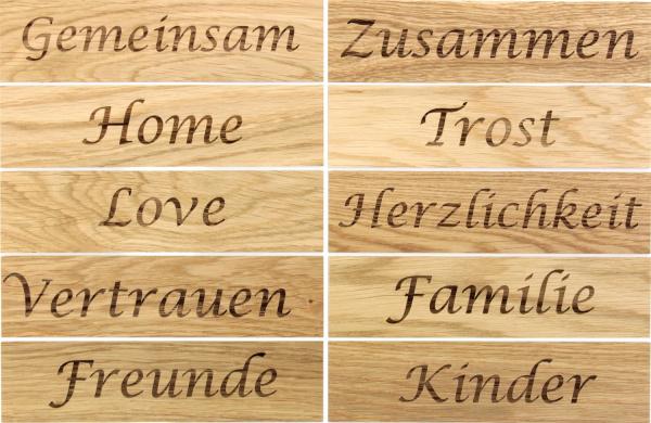 Holz Schriftzüge Holzpaneele Familie Gravur