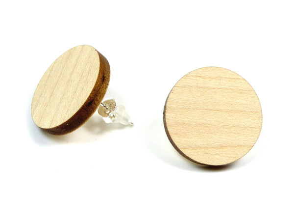 Holzohrring Ahorn | Holzschmuck mit Sterling Silber