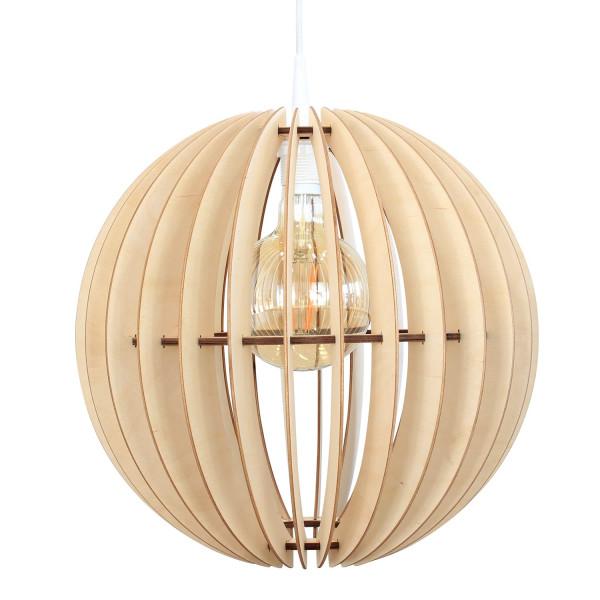 Pendelleuchte Holz Globe Natur Kugelform