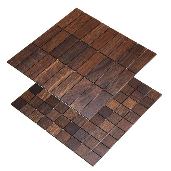 wodewa Holzmosaik Fliese Eichenholz Tabak Wandverkleidung