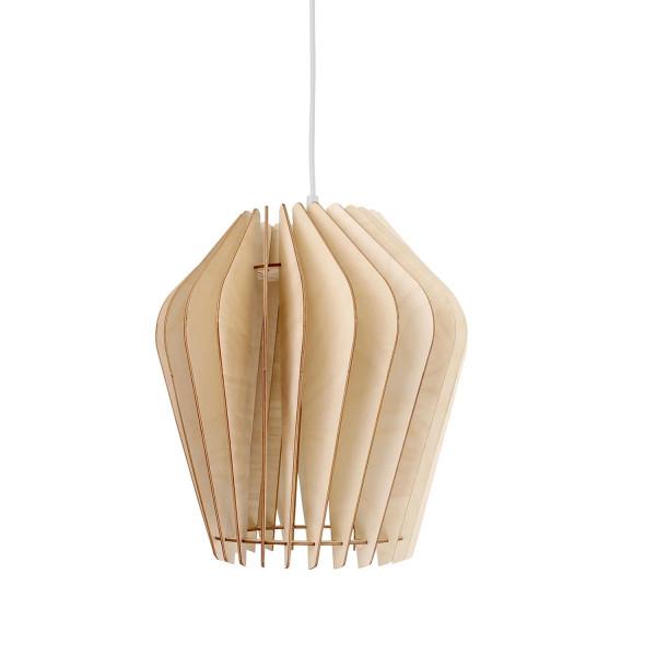 Holzlampe Solis Naturoptik wodewa weißes Kabel (aus)