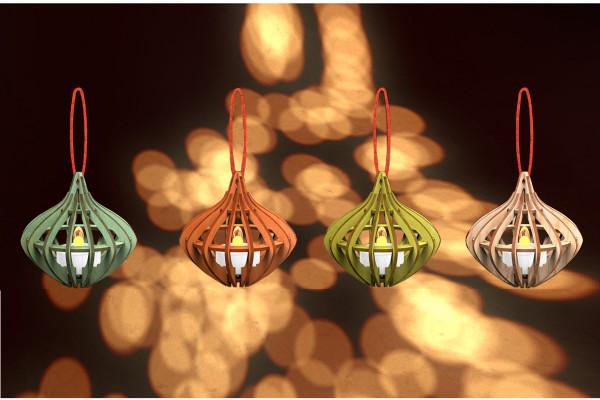 """Holz Weihnachtskugel """"Comet"""" 4er Set"""