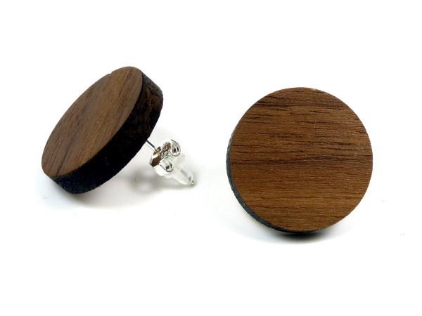 Holzohrring Nussbaum | Holzschmuck mit Sterling Silber