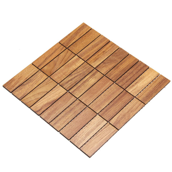 wodewa MosaikFliese aus Holz Teak 30x93mm