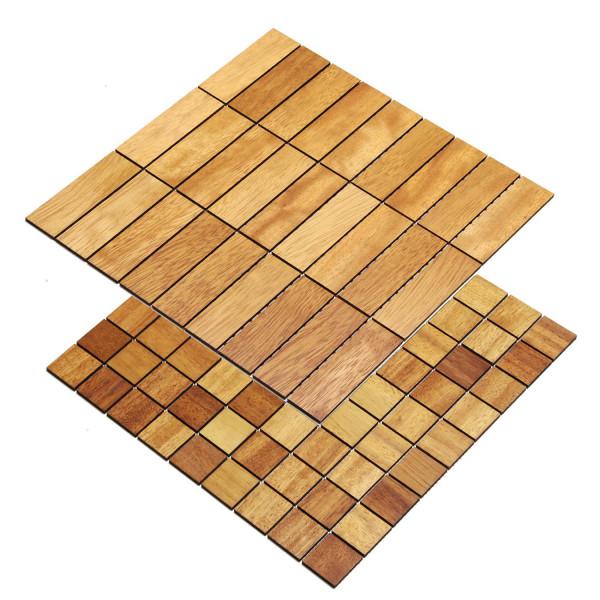 wodewa Holzmosaik Fliese Iroko Holz Wandverkleidung